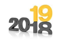 3d framför av numren 2018 och 19 i svart och guld över whit Royaltyfri Illustrationer