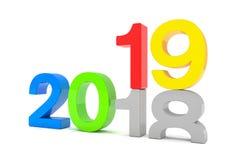 3d framför av numren 2018 och 19 som är färgrika över den vita backgroen Stock Illustrationer