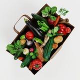 3D framför av pappers- påse med grönsaken arkivbilder