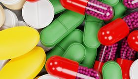 3D framför av preventivpillermedicin stock illustrationer