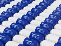 3d framför av probiotic preventivpillerar över vit stock illustrationer
