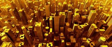 3D framför av ren guld- stad royaltyfri illustrationer
