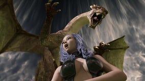 3D framför av sexig flicka och draken som göras i Daz 3D studio 4 9 Royaltyfria Bilder