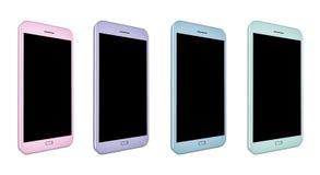 3D framför av smartphones i olika färger Royaltyfri Foto