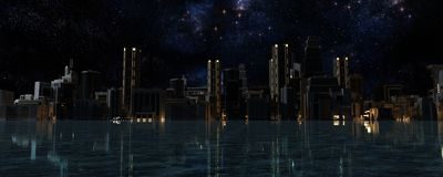 3D framför av staden Arkivfoton