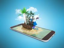 3D framför av tropisk ösemesterort med blått havshavvatten sa Arkivfoto