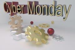 3D framför banret för cyberen måndag med kugghjul royaltyfria foton