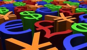 3D framför bild av valutatecken Fotografering för Bildbyråer