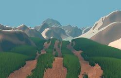 3d framför bilden av berget Illustration av naturberg Royaltyfri Bild
