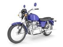 3d framför den blåa isolerade klassiska motorcykeln Royaltyfria Bilder