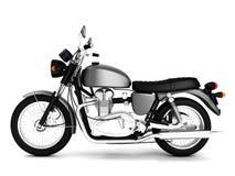 3d framför den gråa klassikern isolerade motorcykeln Royaltyfria Bilder