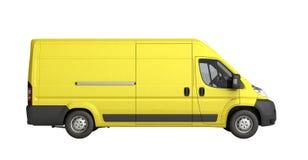 3d framför den gula leveransen Van Icon ingen skugga Arkivbild
