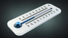 3D framför den kalla vita termometern som indikerar låg temperatur Royaltyfri Fotografi