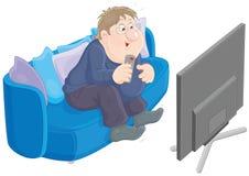 3d framför den sittande för televisiontv:n för sofaen åskådar- tittaren royaltyfri illustrationer