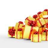 3d framför - guld- julgåvaaskar med röda band Royaltyfria Bilder
