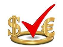 3D framför illustrationen av den guld- kontroll-fläcken, dollaren och euroet Arkivfoto
