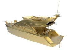 3D framför illustrationen av en guld- yacht vektor illustrationer