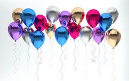 3d framför illustrationen av realistiska glansiga metalliska ballonger för den silver, blå och guld- pärlan på vit bakgrund Töm u vektor illustrationer