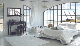 3D framför inre av det rymliga sovrummet Arkivbild