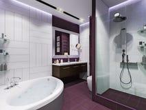 3d framför inredesign av ett badrum Arkivbilder