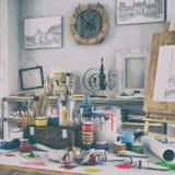 3d framför - konstnärlig utrustning i en studio - retro blick Arkivfoto