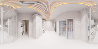 3d framför korridorinredesign i klassisk stil Royaltyfria Bilder
