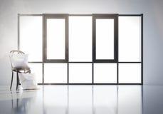 3d framför kudden på slul på bakgrunden av ett stort fönster Modell arkivbilder