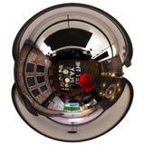 3d framför livingroomen för 360 panorama av inre Royaltyfri Foto