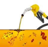 3d framför på vit bakgrund, dysan som pumpar bensin i en behållare, av hällande bensin för bränsledysan över vit bakgrund, dysapu vektor illustrationer