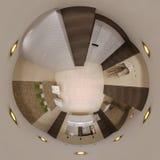 3d framför panorama 360 av badruminre Fotografering för Bildbyråer