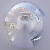 3d framför panorama 360 av trappuppgångkorridorinre Arkivfoto