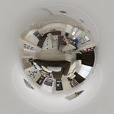 3d framför panorama 360 av vardagsruminre Royaltyfria Bilder
