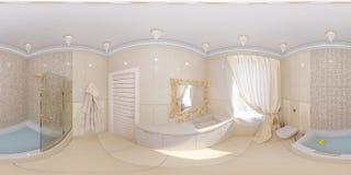 3d framför panoramainredesign av ett badrum Royaltyfria Bilder