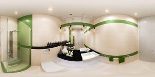 3d framför panoramainredesign av ett badrum i modern stil Arkivbilder