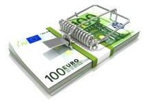 3D framför råttfällan installerad på eurosedelbunt Arkivbild