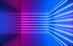 3d framför, rosa neonlinjer, hörn inom tomt rum, faktiskt utrymme, ultraviolett ljus, 80-talstil, retro diskoklubbainre, royaltyfria foton