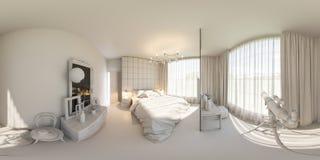 3d framför sömlös panorama 360 av sovrummet Royaltyfri Foto