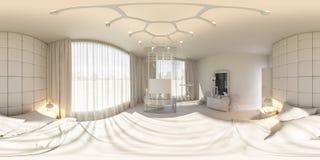 3d framför sömlös panorama 360 av sovrummet Royaltyfria Bilder