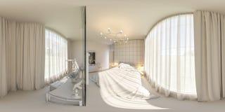 3d framför sömlös panorama 360 av sovrummet Royaltyfri Bild
