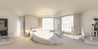 3d framför sömlös panorama 360 av sovrummet Royaltyfri Fotografi