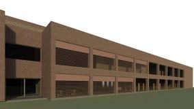 3D framför - sikt till den moderna byggnaden arkivfoton