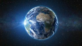 3D framför: Soluppgångsikt från utrymme på planetjord Royaltyfria Foton