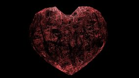 3D framför stor hjärta skapad av ett nätverk av röda trådar stock illustrationer