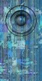 3d framför systemet för den blåa gamla högtalaren för grunge det solida Royaltyfri Fotografi