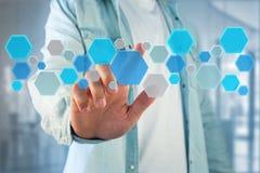 3d framför tom applikation gjord av den blåa hexa knappen som visas på Royaltyfria Foton