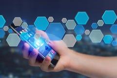 3d framför tom applikation gjord av den blåa hexa knappen som visas på Arkivbild