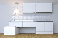 3D framför vitt modernt kök i den vita inre Arkivfoton