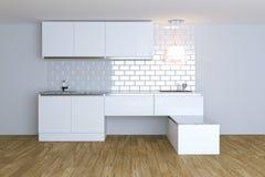 3D framför vitt modernt kök i den vita inre Royaltyfri Bild