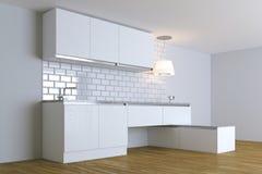 3D framför vitt modernt kök i den vita inre Arkivbilder