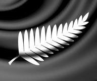 3d framförd silver Fern Flag royaltyfri illustrationer